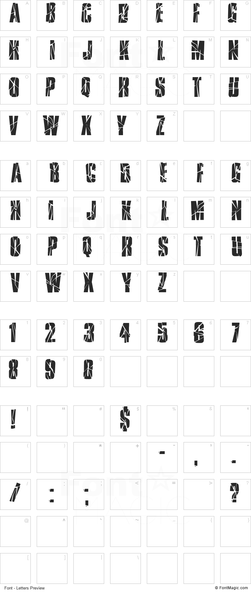 Ruptured Sans Font - All Latters Preview Chart