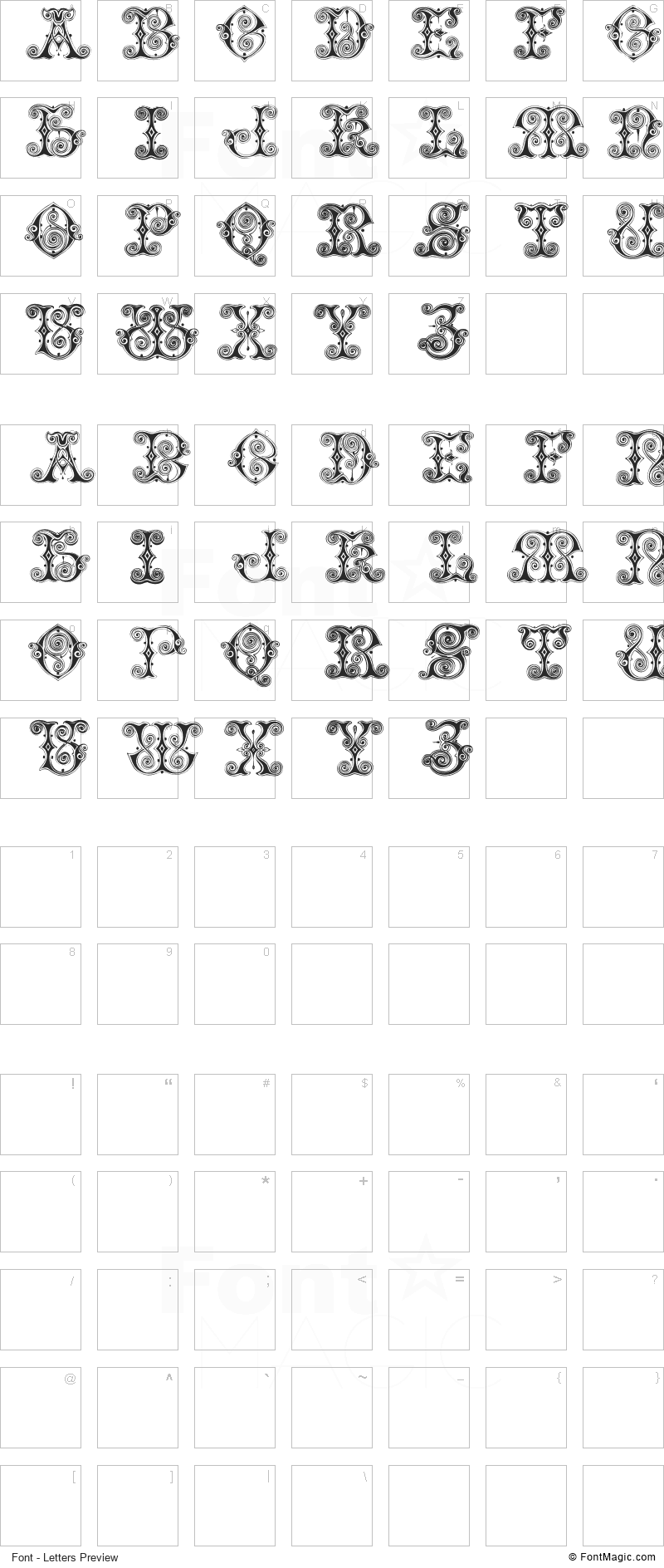Vaticanian Initials Font - All Latters Preview Chart