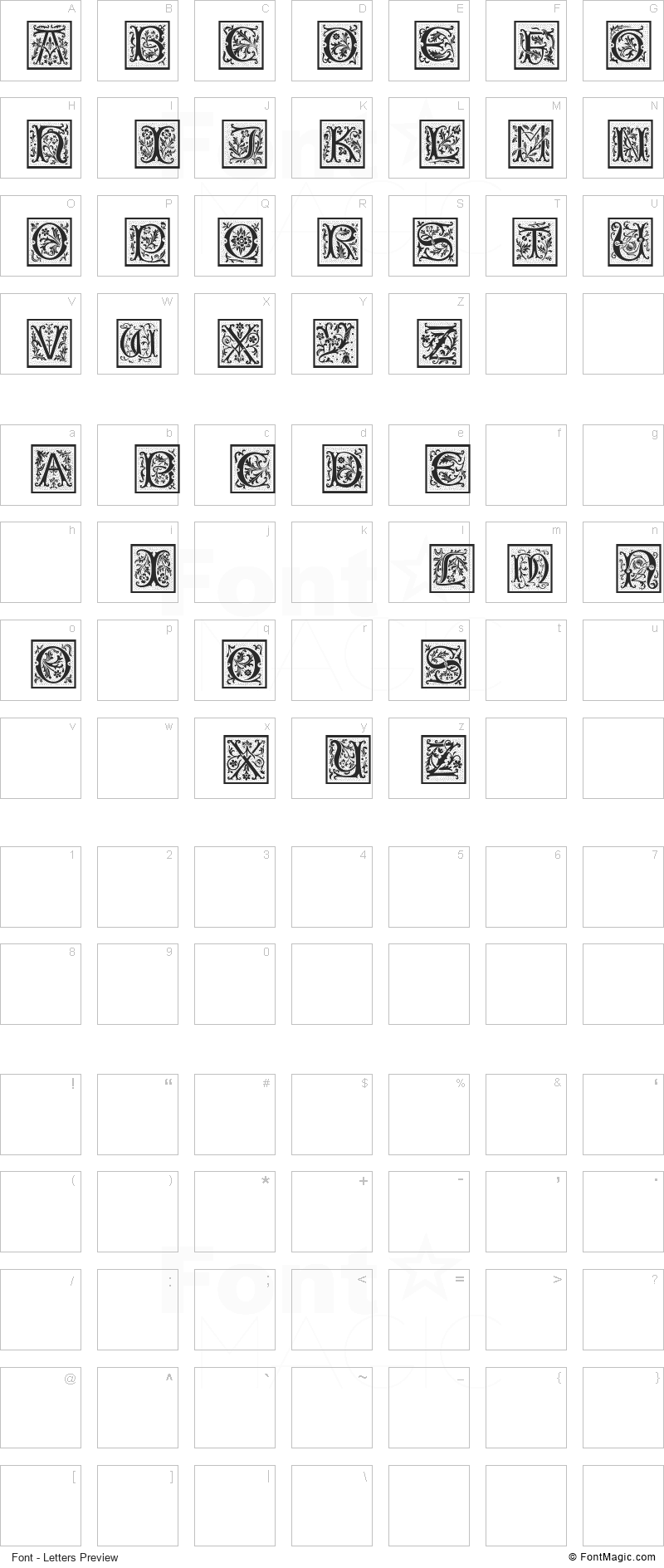 PetitFleur Font - All Latters Preview Chart