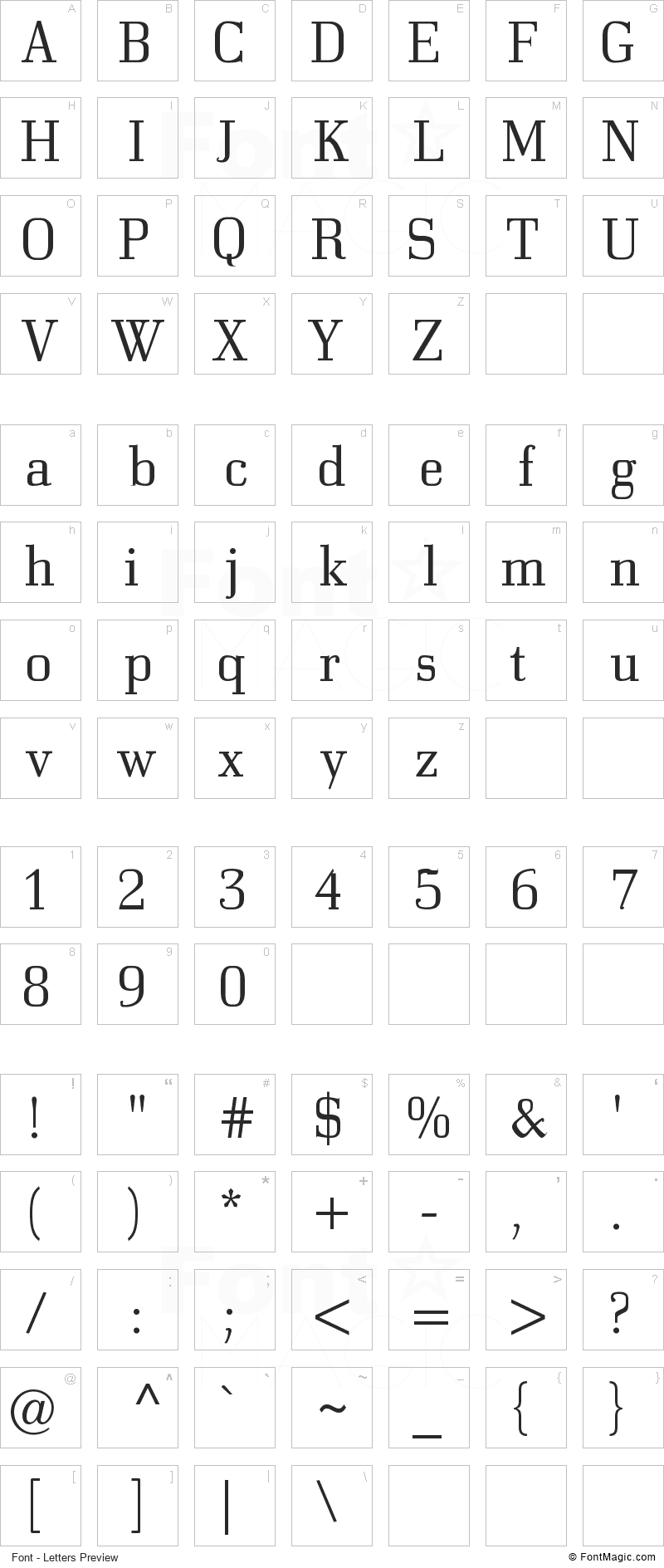 Bodonitown Font - All Latters Preview Chart