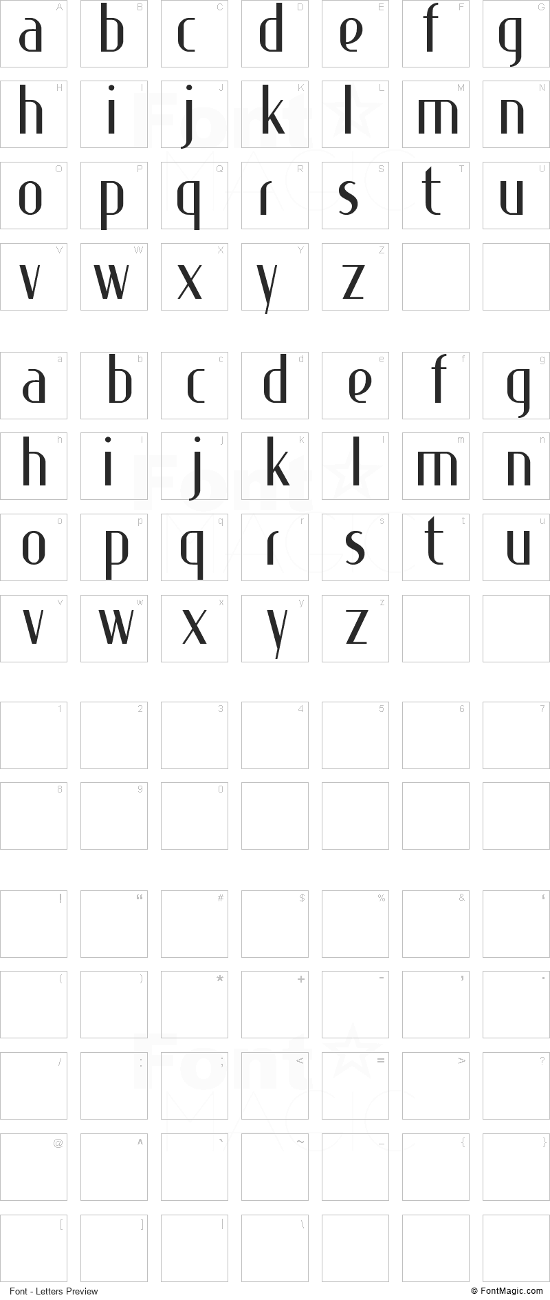 Special K Font - All Latters Preview Chart