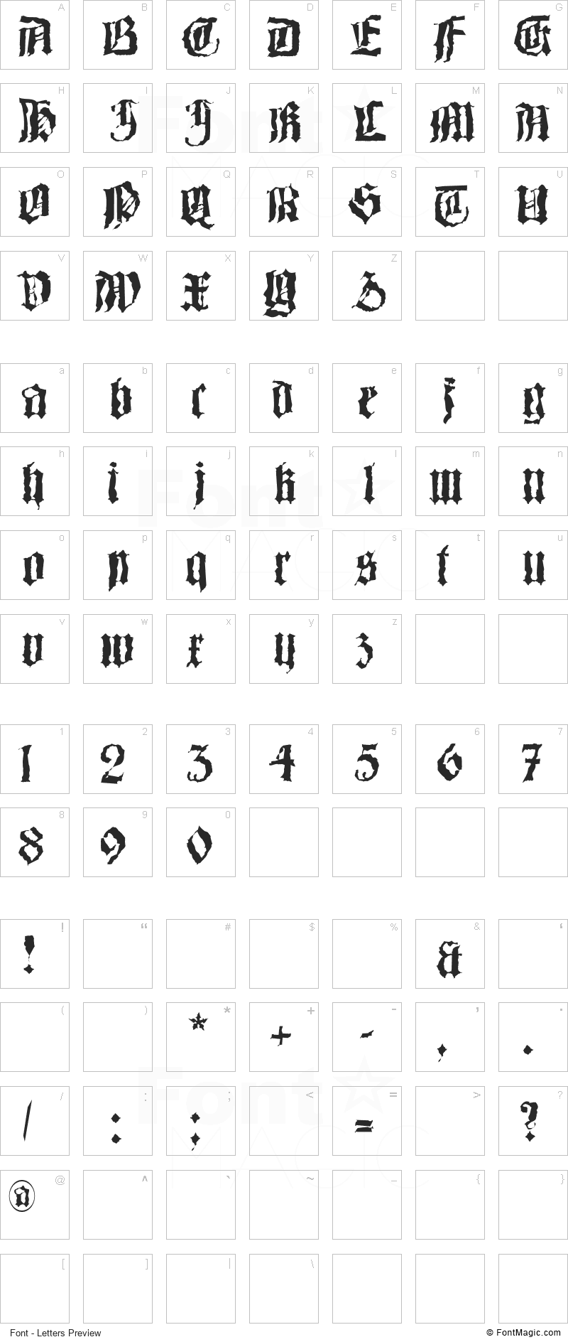 Barlos-Random Font - All Latters Preview Chart