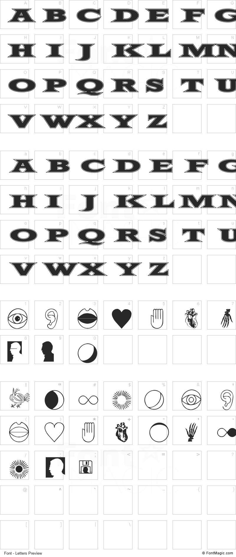 Fifty Two Letters Font - All Latters Preview Chart
