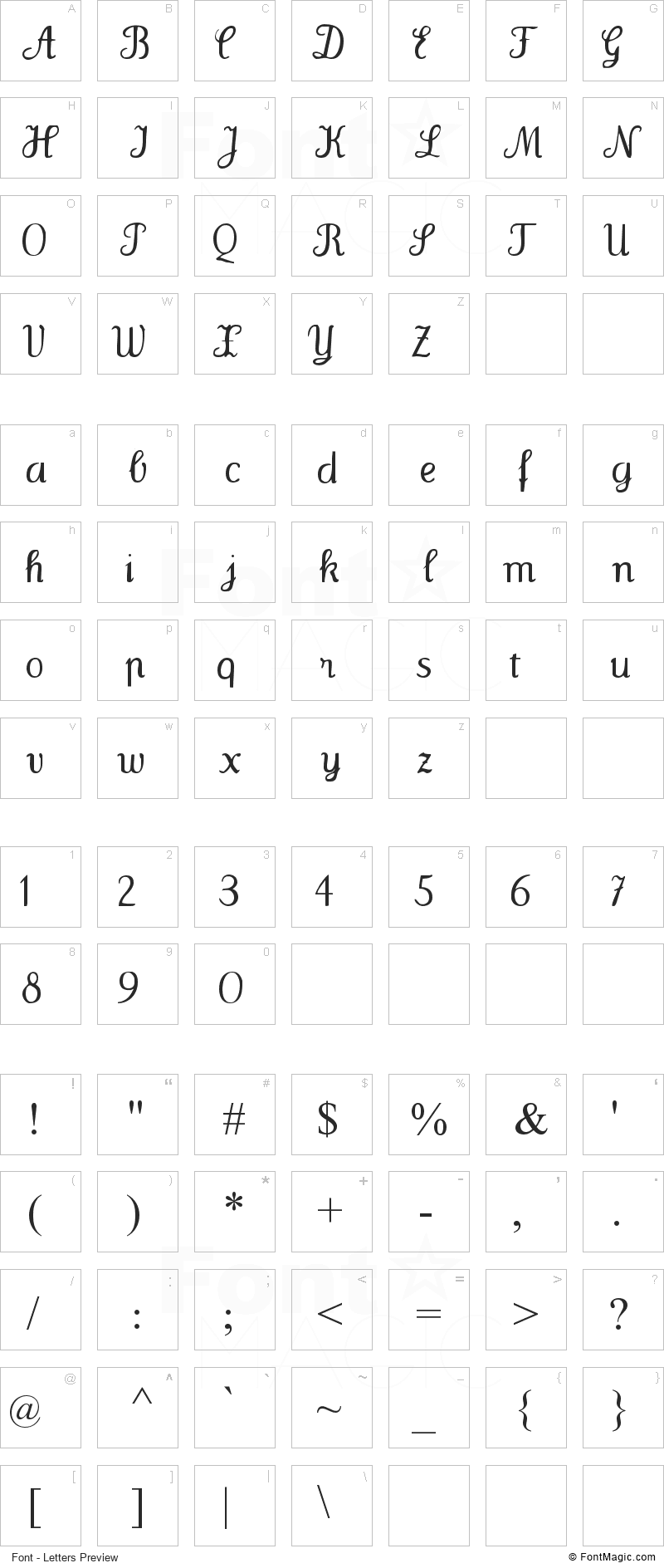 Wenceslas Font - All Latters Preview Chart