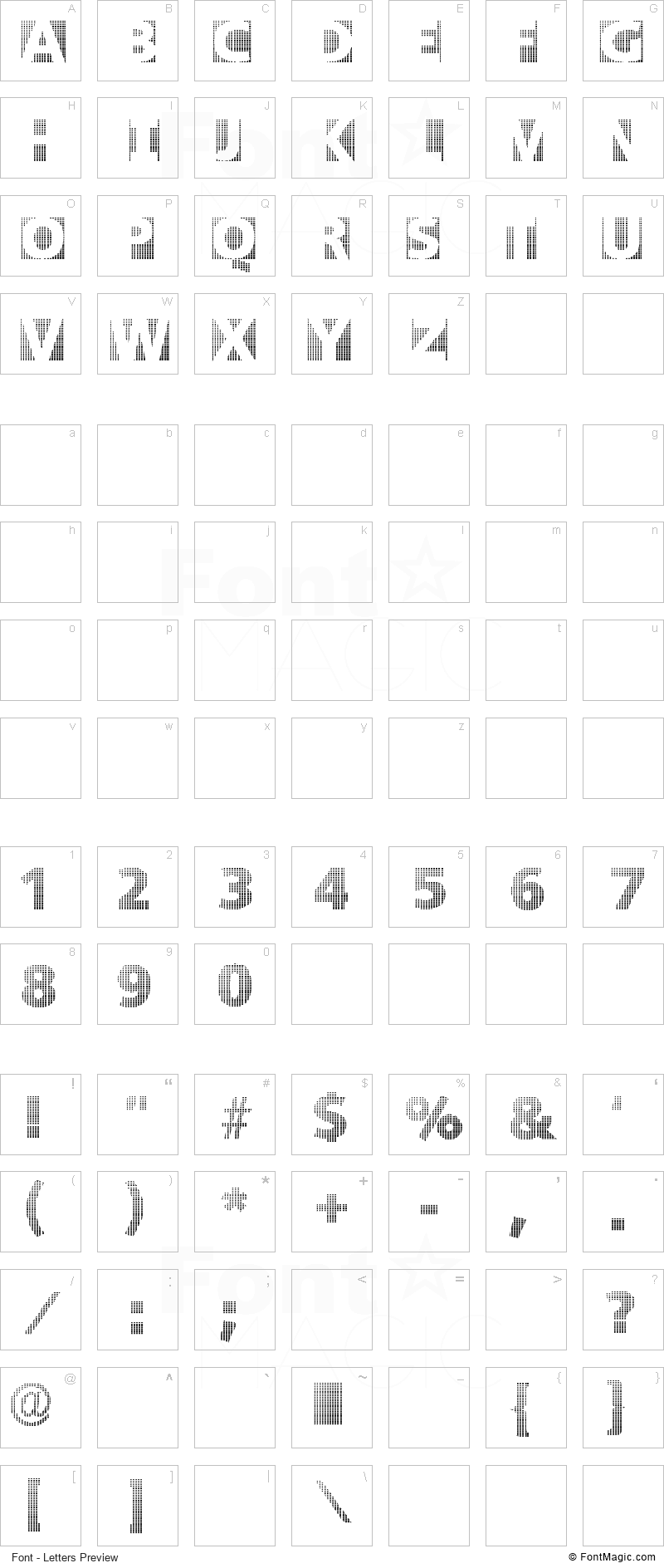 Black White Grids Font - All Latters Preview Chart