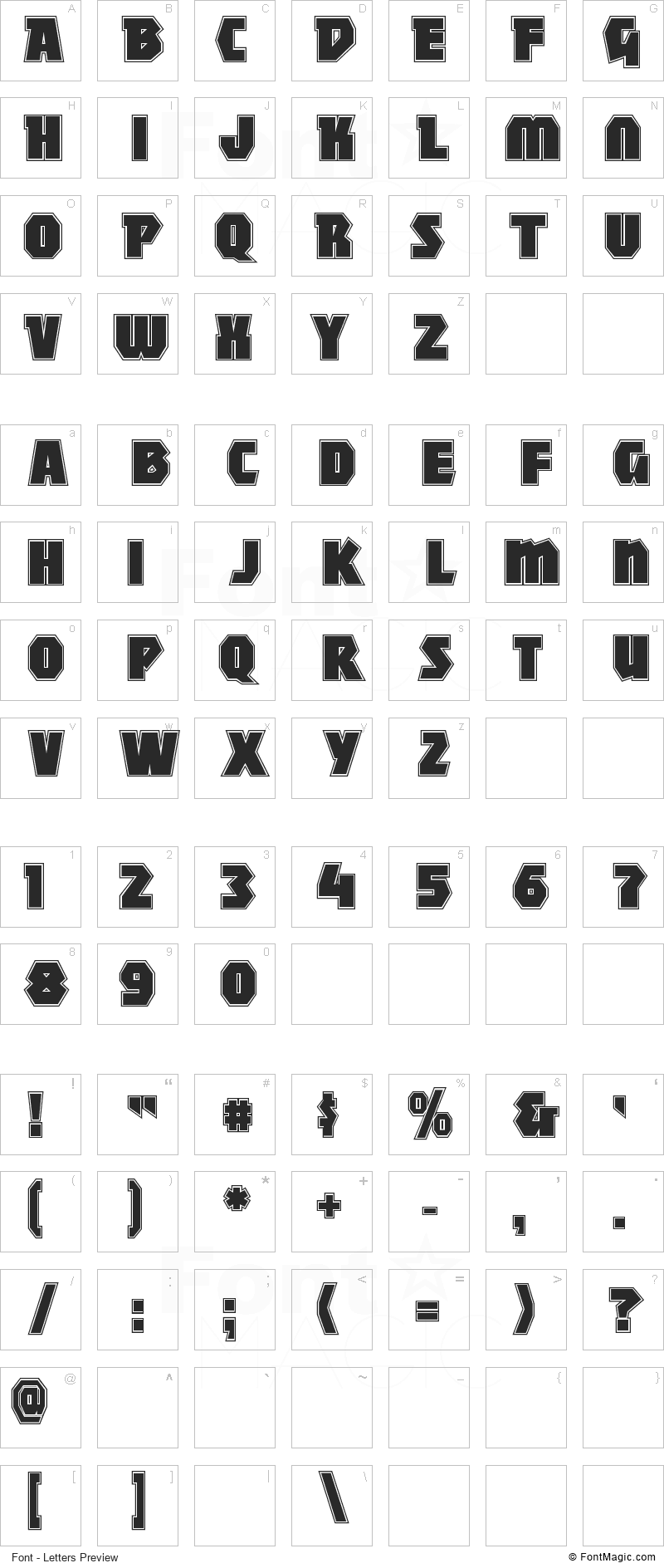 Mighty Font - All Latters Preview Chart