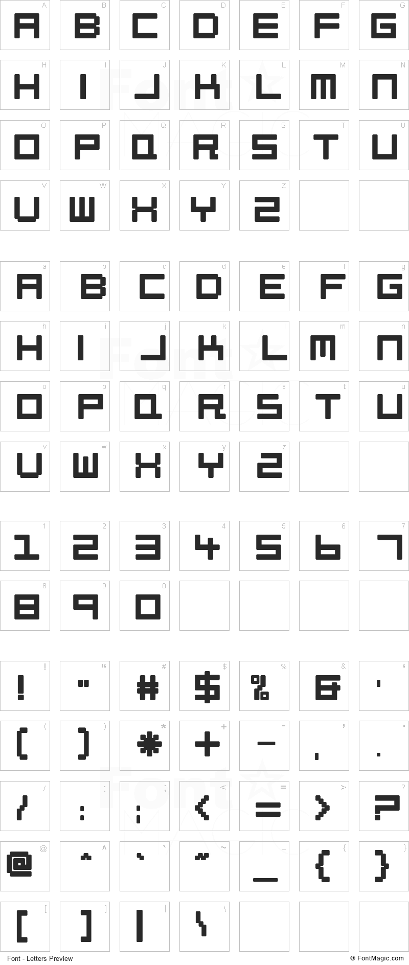 Petitinho Font - All Latters Preview Chart