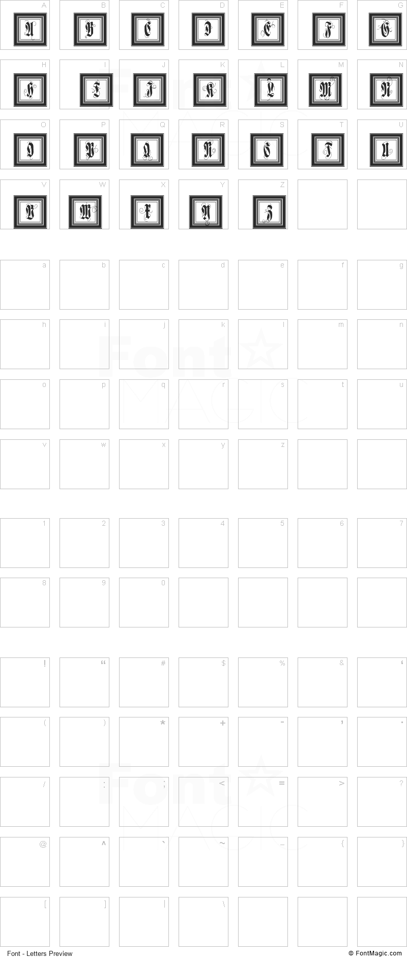 FramedFraxCaps Font - All Latters Preview Chart