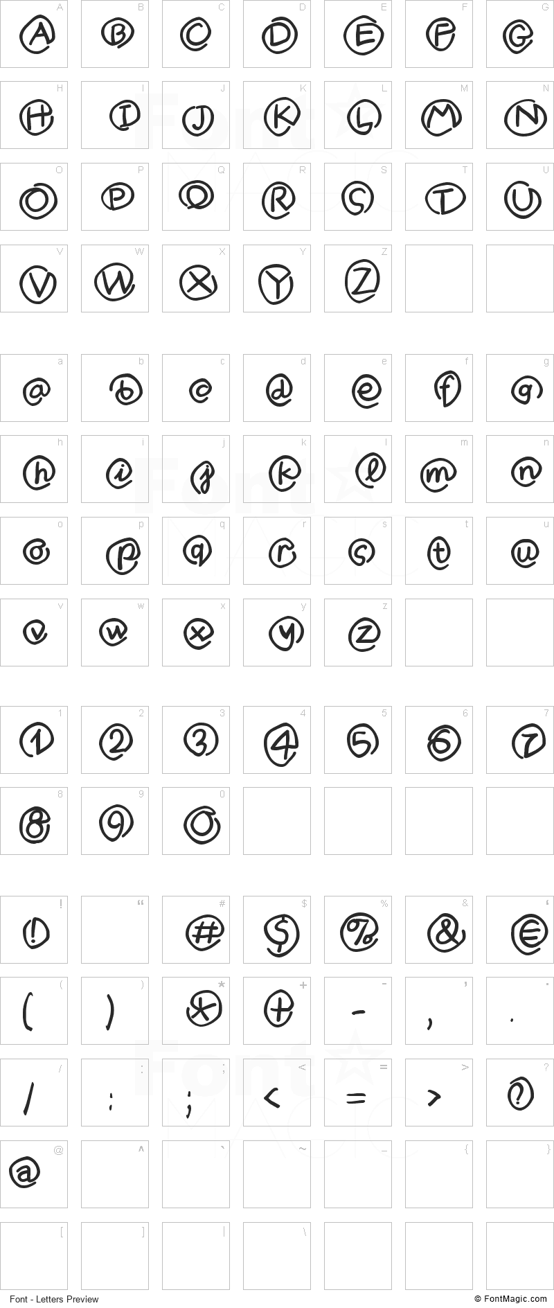 MKlammer Affen Font - All Latters Preview Chart