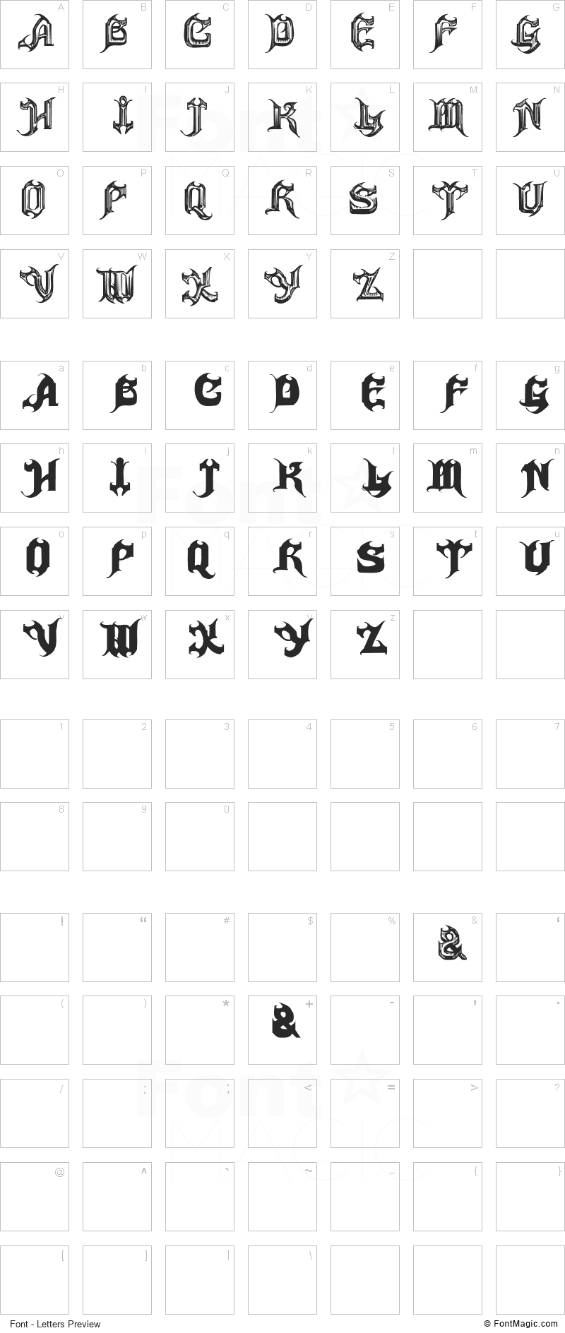 Haunted Font - All Latters Preview Chart