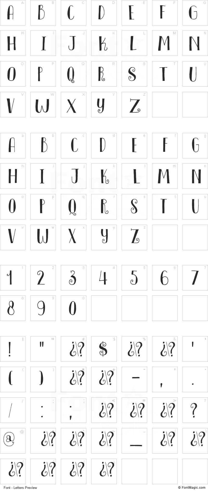 DK Innuendo Font - All Latters Preview Chart