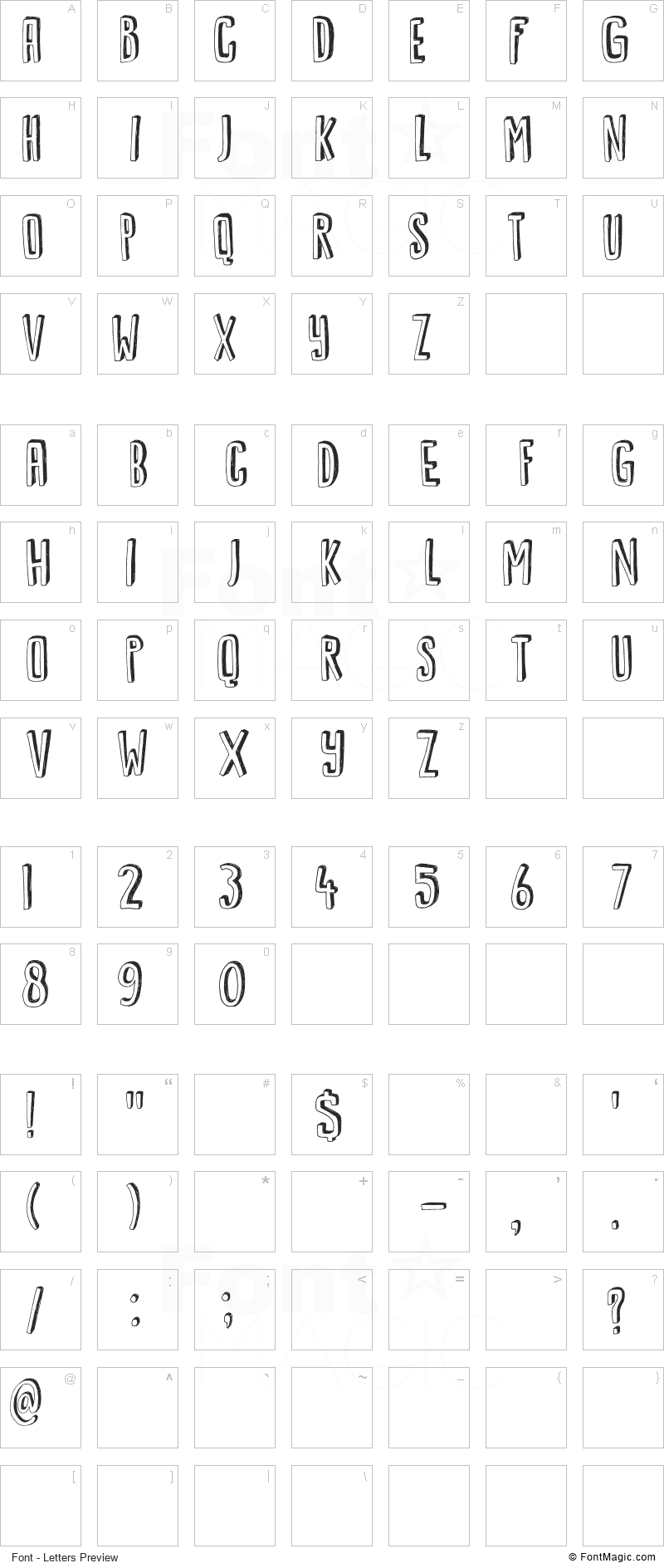 DK Kwark Font - All Latters Preview Chart