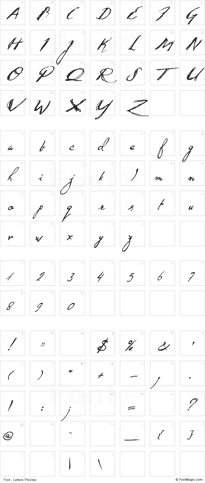 Quid Pro Quo Font - All Latters Preview Chart