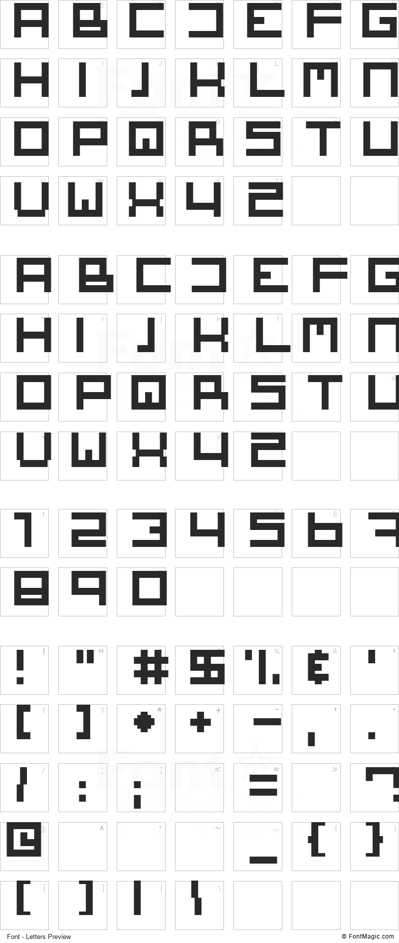 Square One Font - All Latters Preview Chart