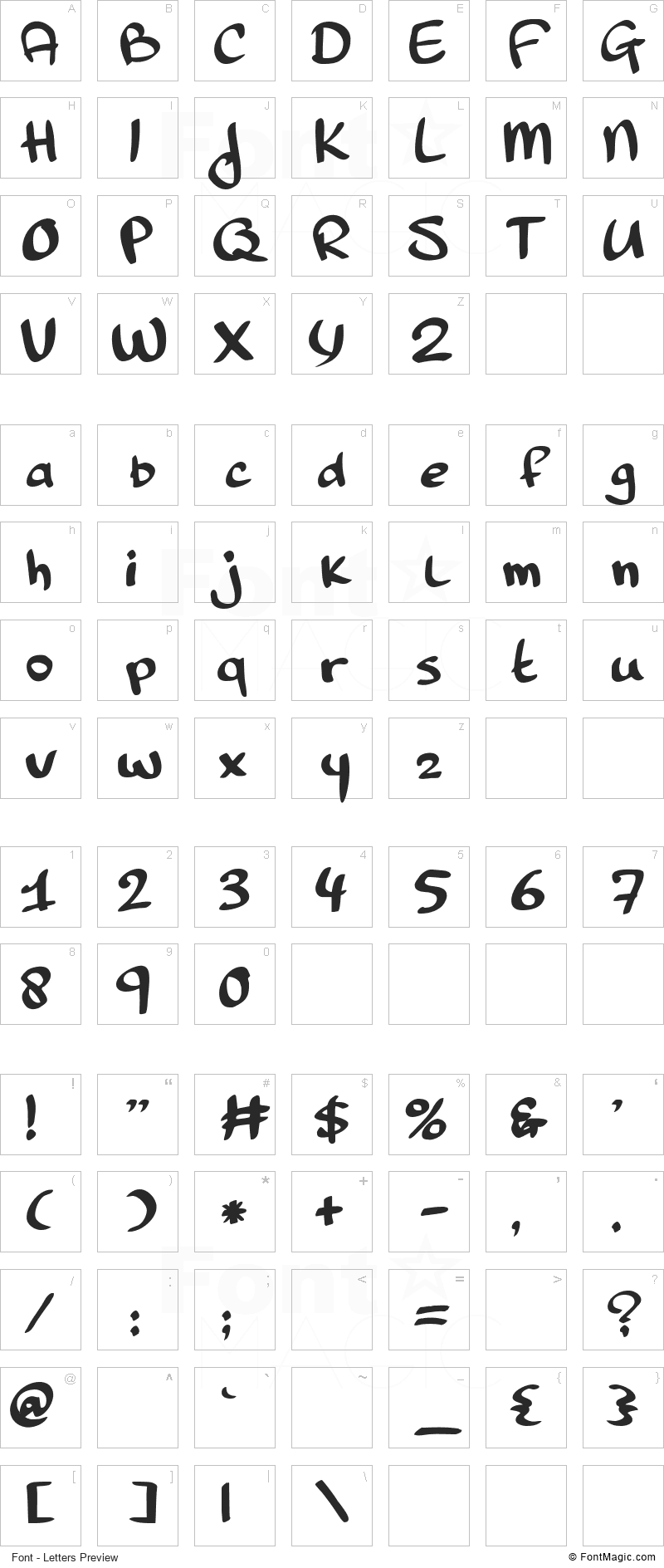 Pinda Font - All Latters Preview Chart