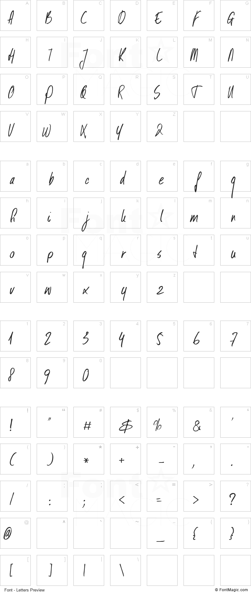 DK Kusukusu Font - All Latters Preview Chart