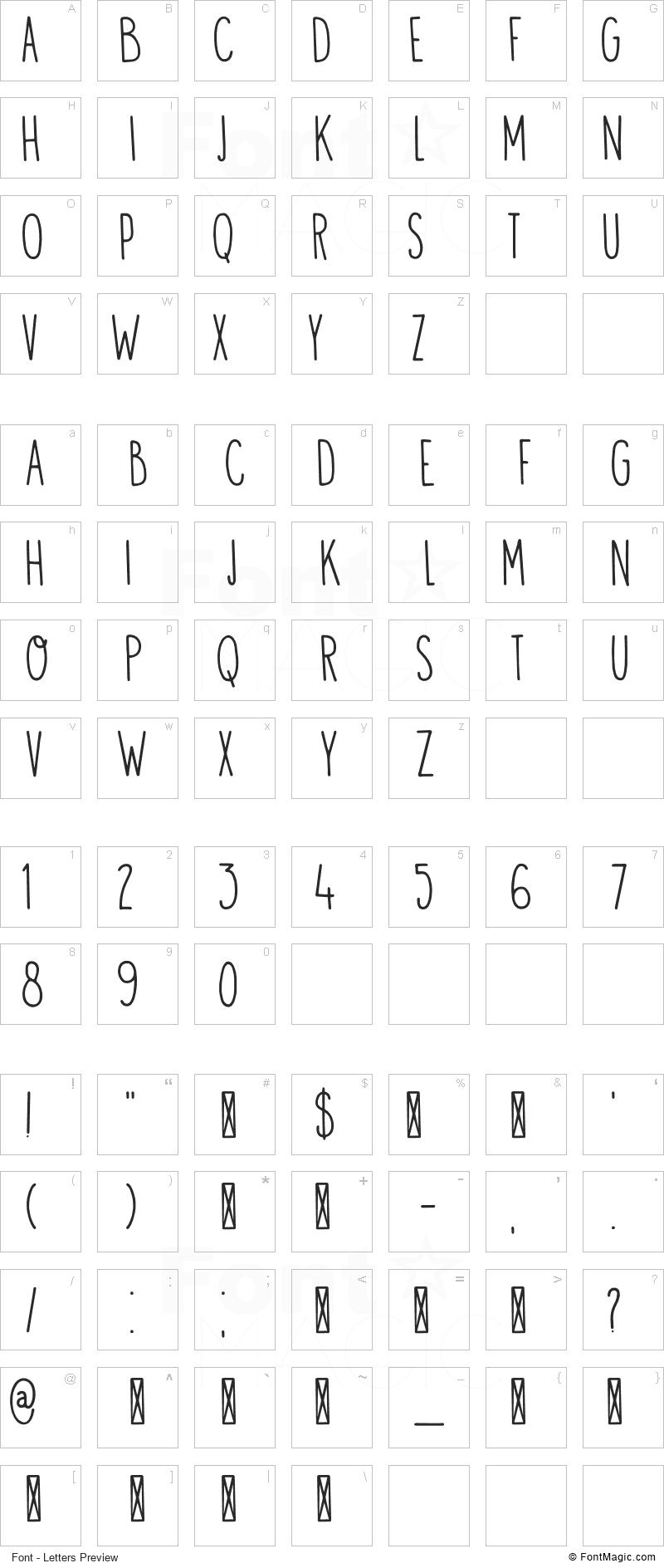 Visum Font - All Latters Preview Chart
