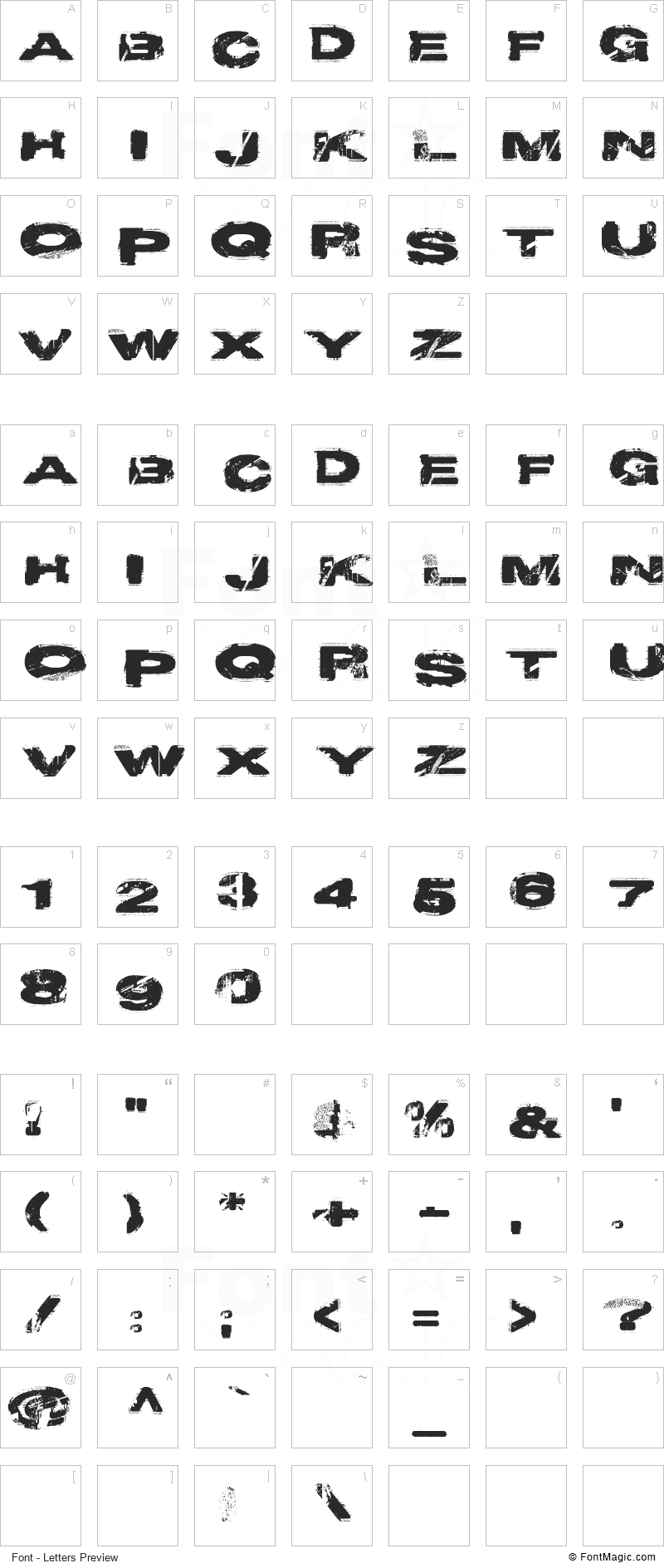 Project Y Font - All Latters Preview Chart