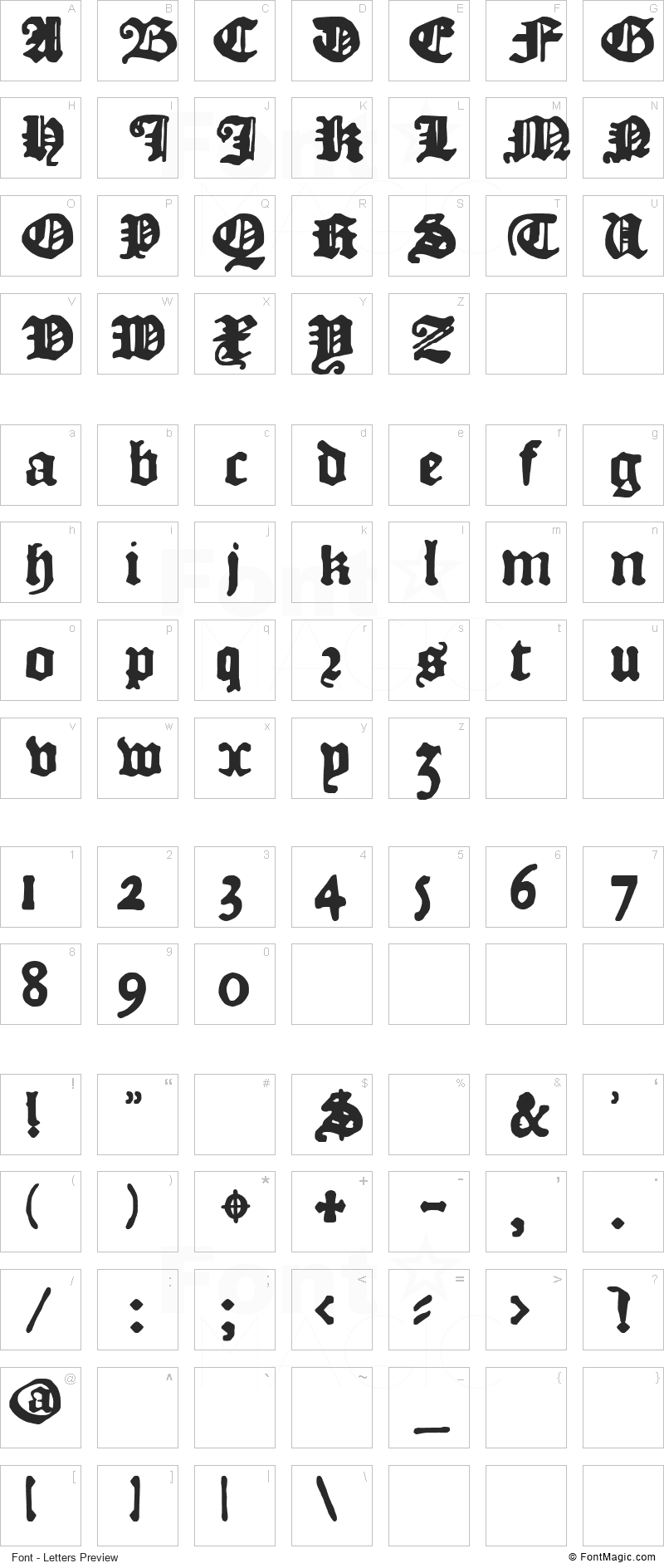 DK Courant Font - All Latters Preview Chart