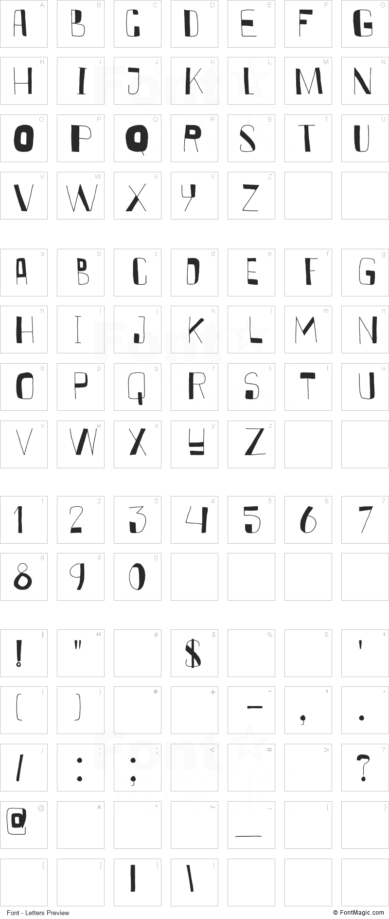 DK Kurkuma Font - All Latters Preview Chart