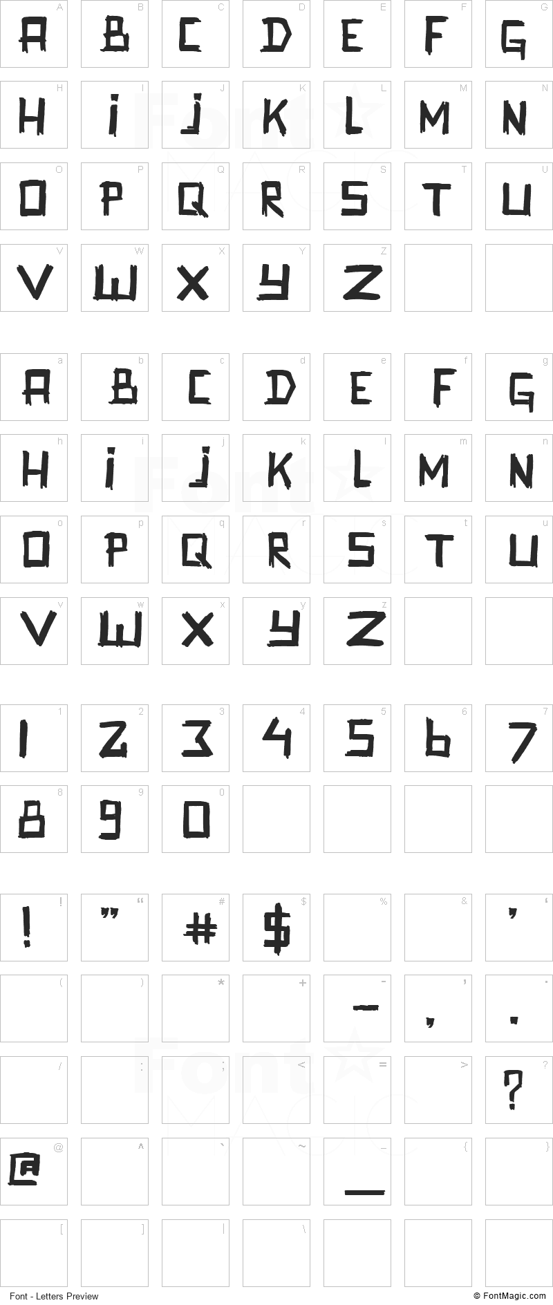 Promenadenmischung Font - All Latters Preview Chart