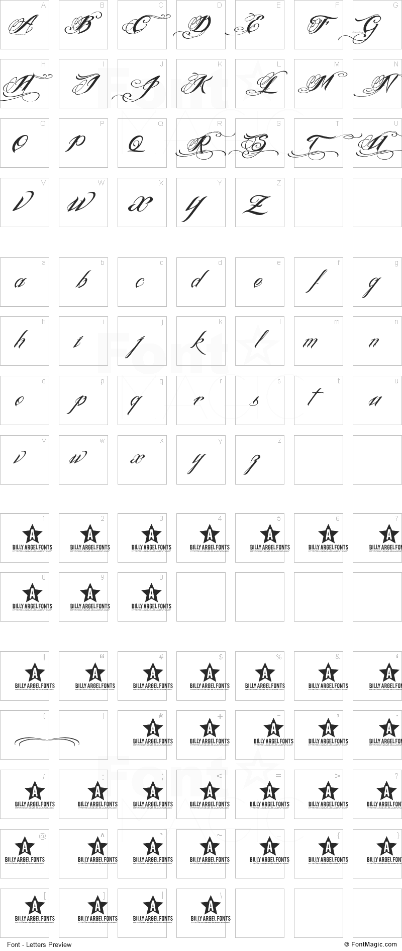 Ink In The Meat Font - All Latters Preview Chart
