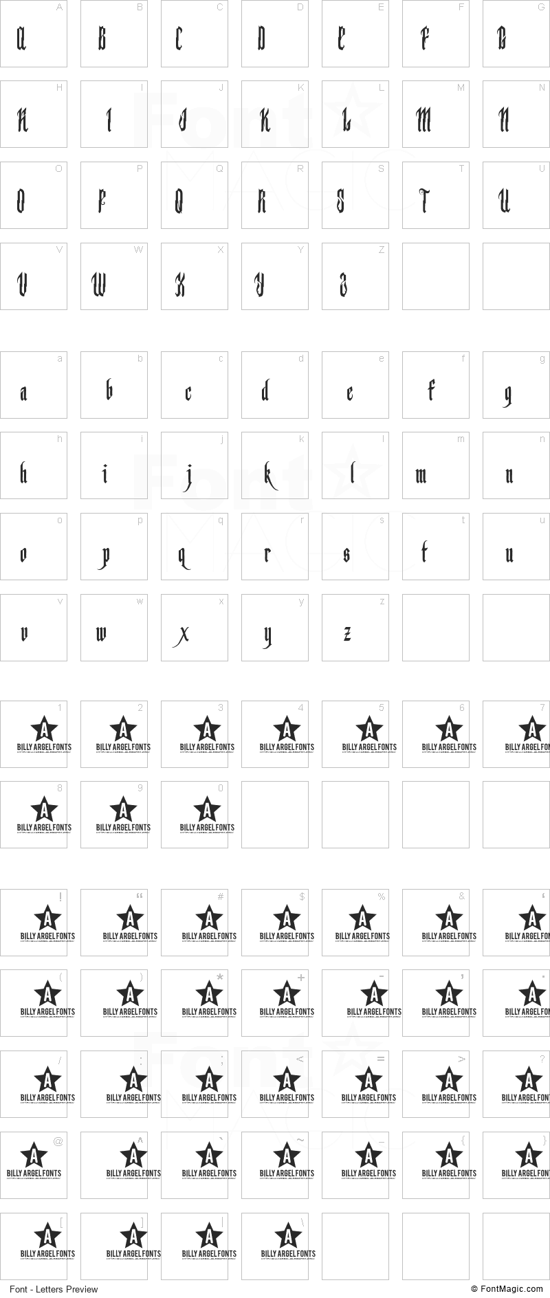 Backstab Font - All Latters Preview Chart