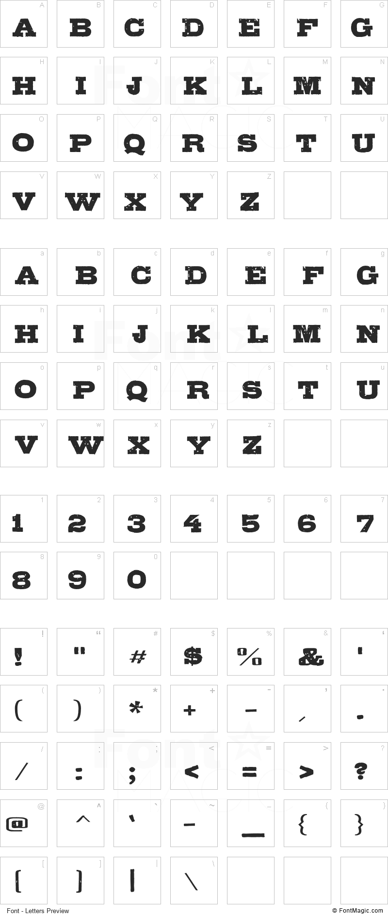 Gipsiero Font - All Latters Preview Chart