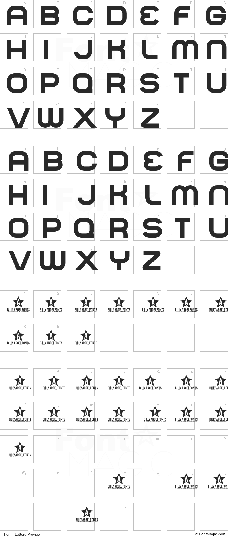 Normal Font - All Latters Preview Chart