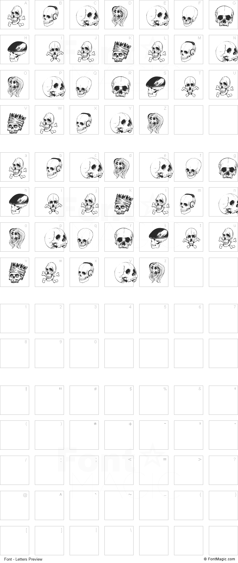 Skull Font - All Latters Preview Chart