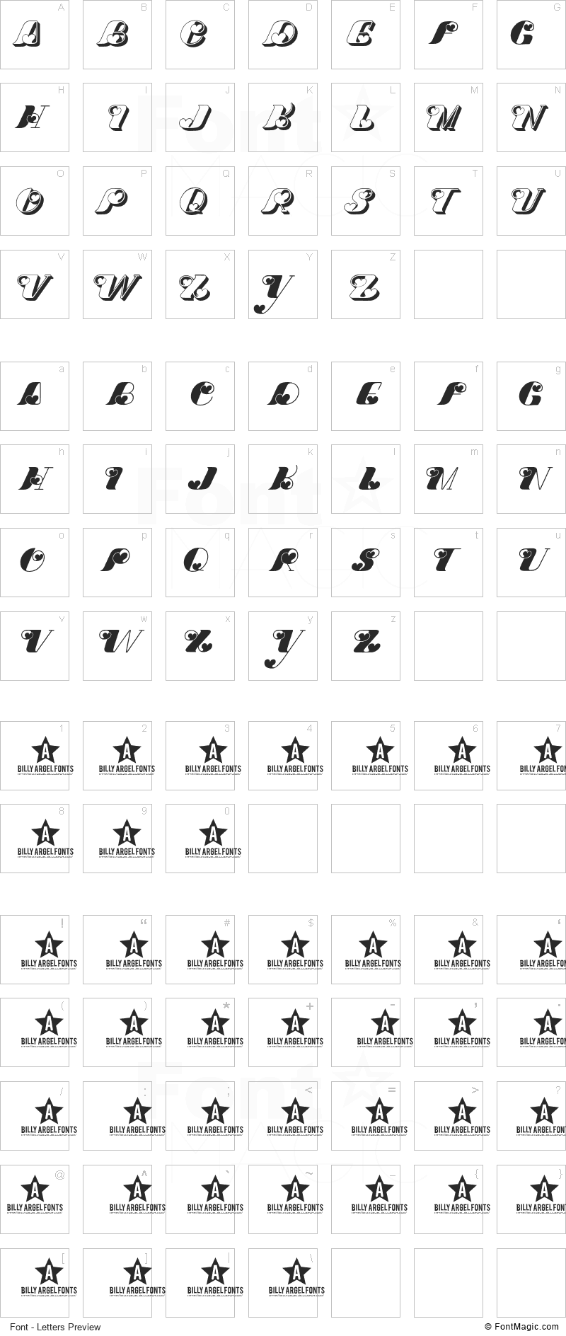 Dove Love Font - All Latters Preview Chart