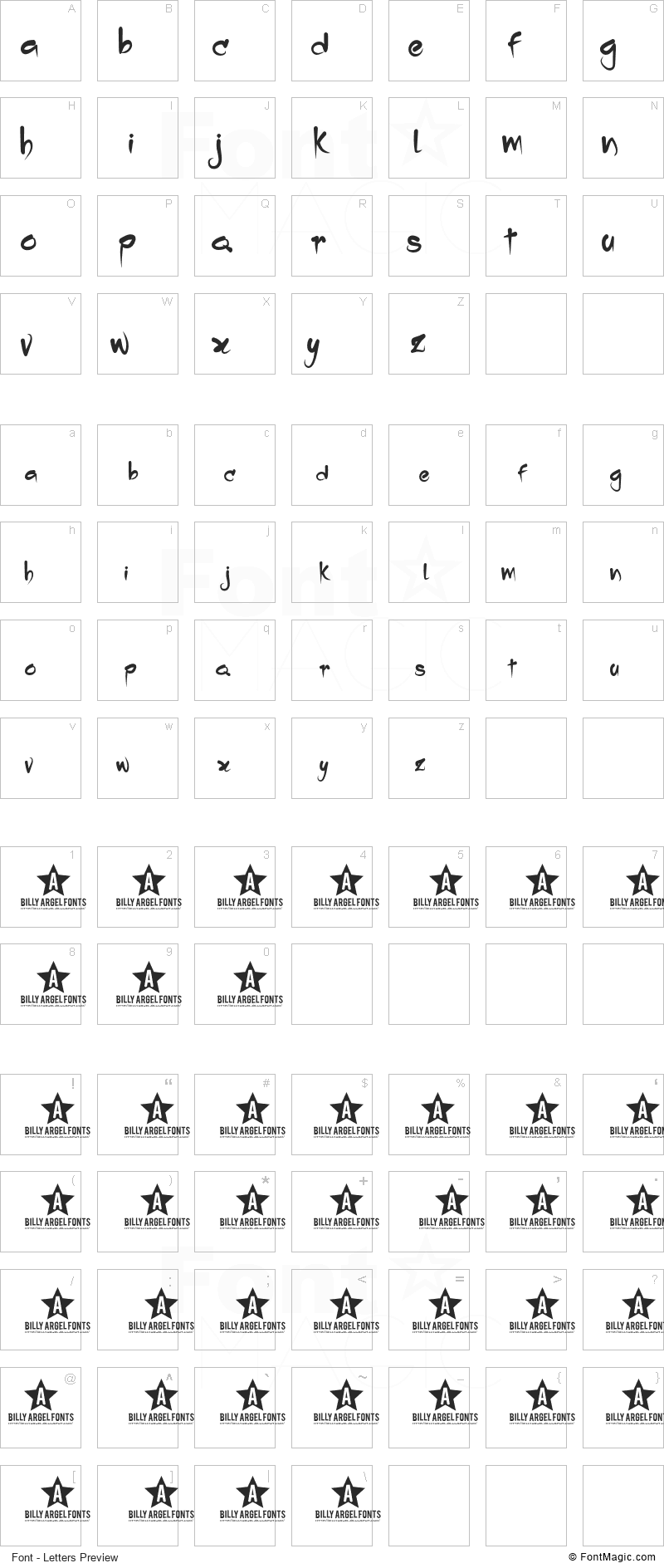 Dropping Font - All Latters Preview Chart