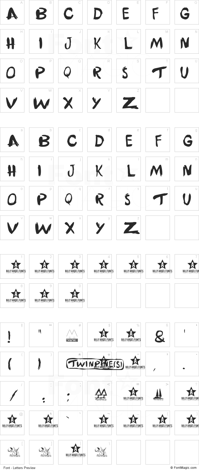Twinpines Font - All Latters Preview Chart