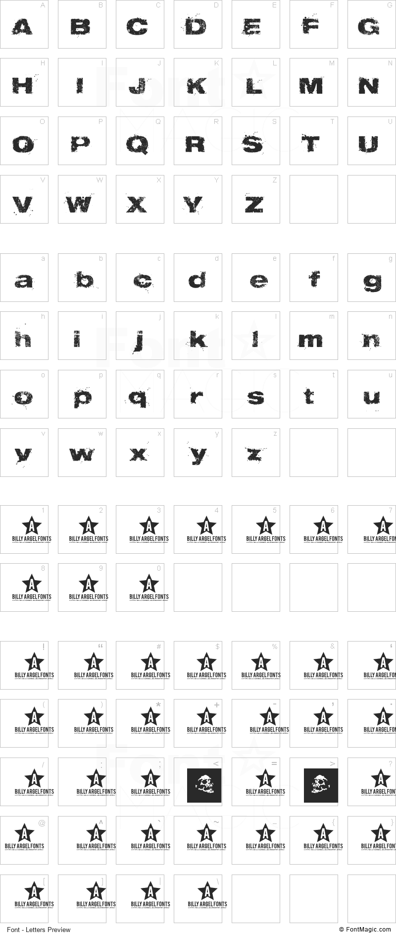 Tabu Font - All Latters Preview Chart