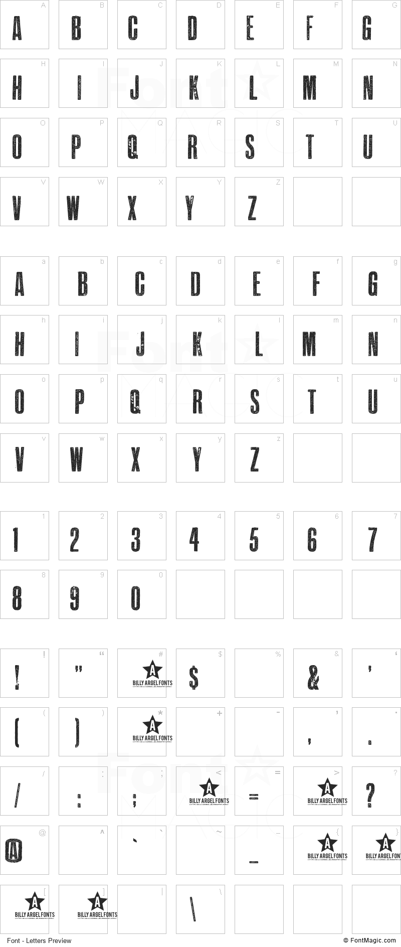 Epidemia Font - All Latters Preview Chart