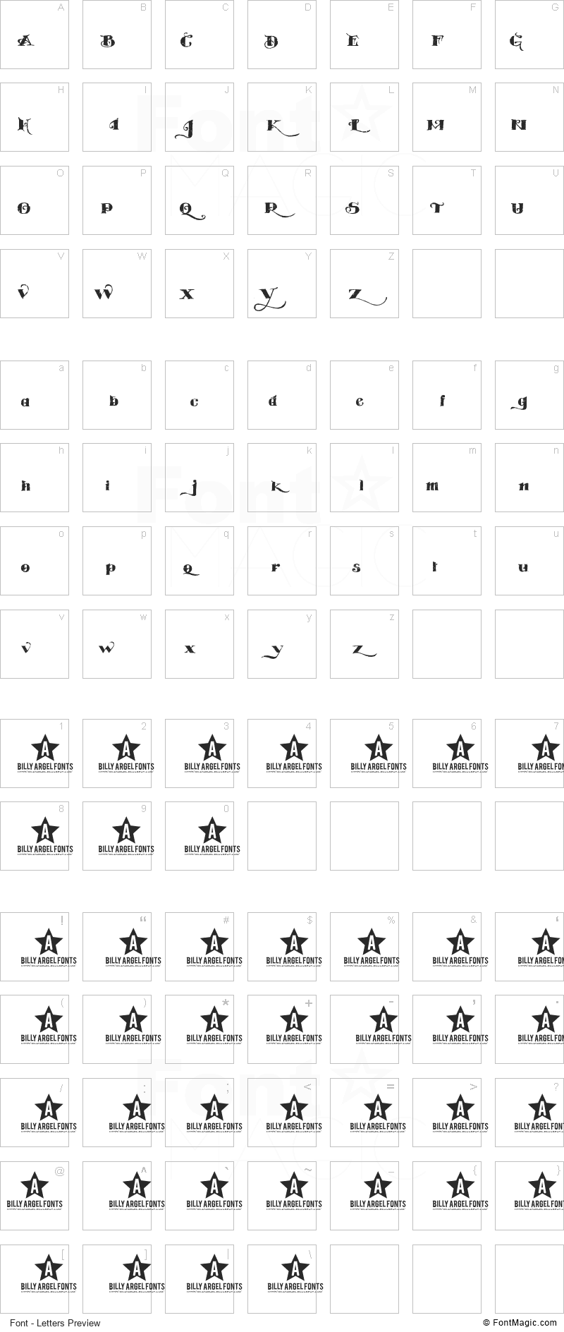 Easy Trouble Font - All Latters Preview Chart