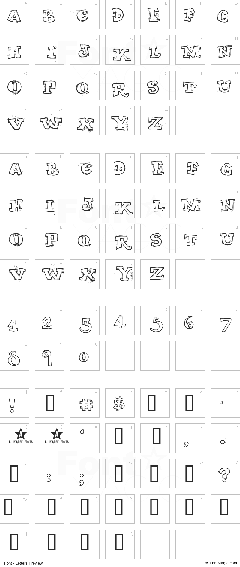 My Turtle Font - All Latters Preview Chart