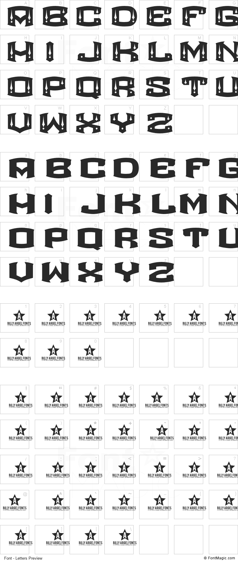 Rocketair Font - All Latters Preview Chart