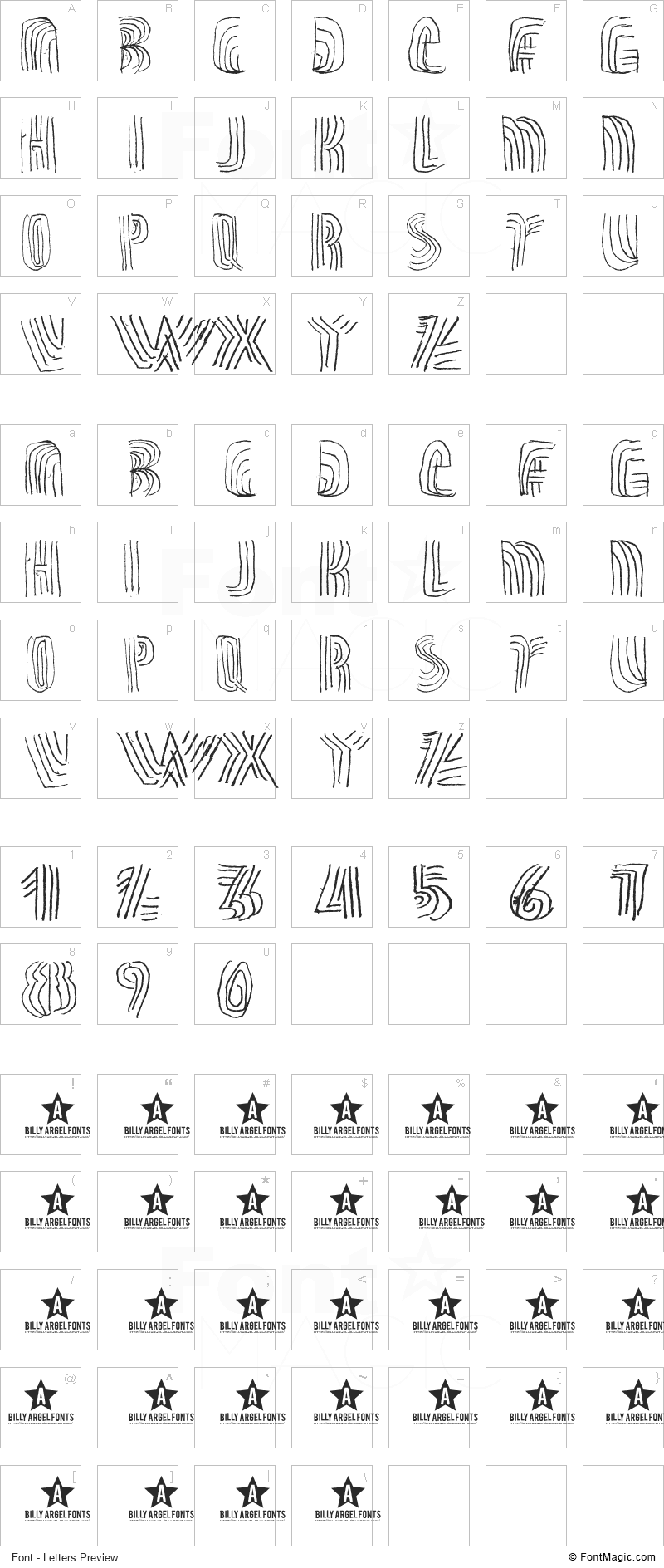 Thrashline Font - All Latters Preview Chart
