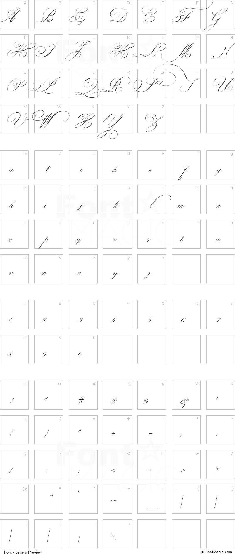 Indenture English Penman Font - All Latters Preview Chart