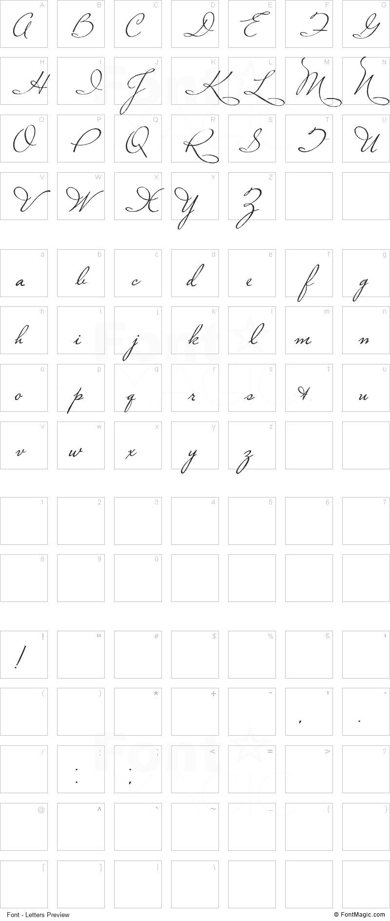 Plaster of Paris Font - All Latters Preview Chart