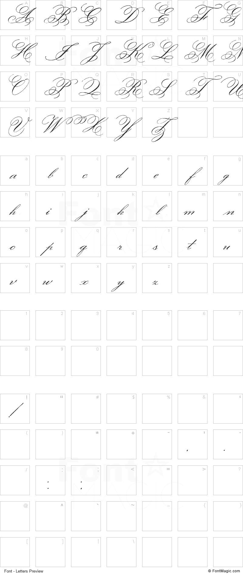 Face of Yesterday Font - All Latters Preview Chart