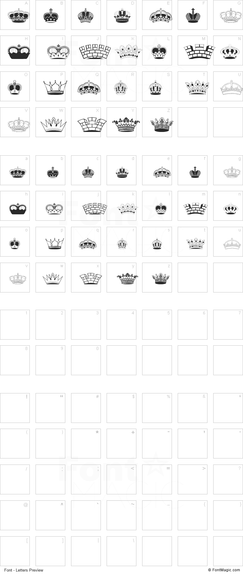 Intellecta Crowns Font - All Latters Preview Chart