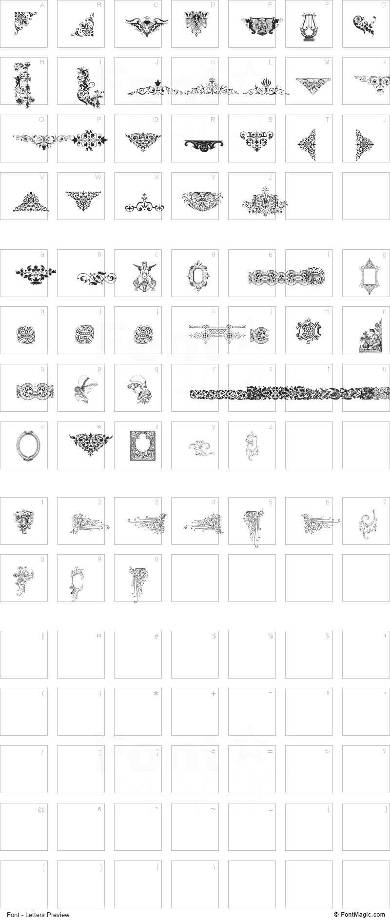 Victorian Free Ornaments Two Font - All Latters Preview Chart