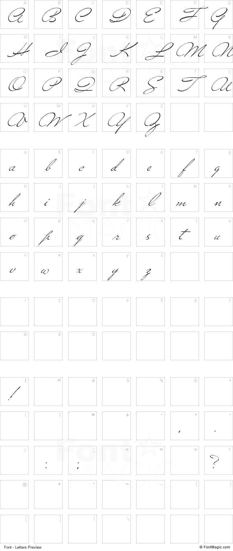 Versitia Font - All Latters Preview Chart