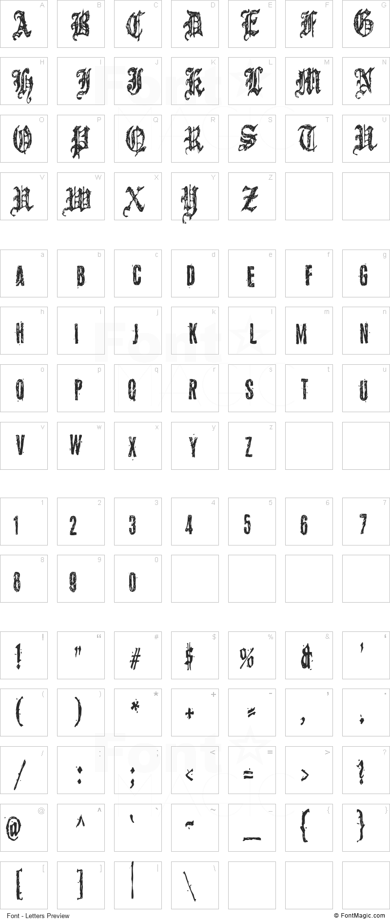 Grymmoire Font - All Latters Preview Chart