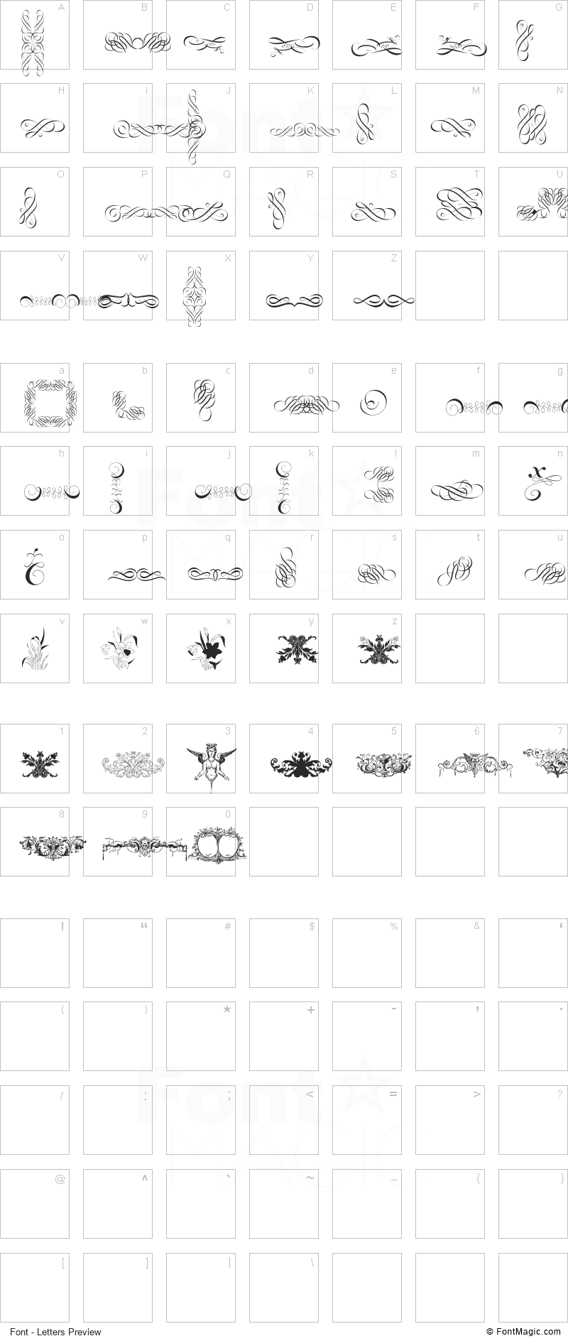 Cornucopia of Ornaments Font - All Latters Preview Chart
