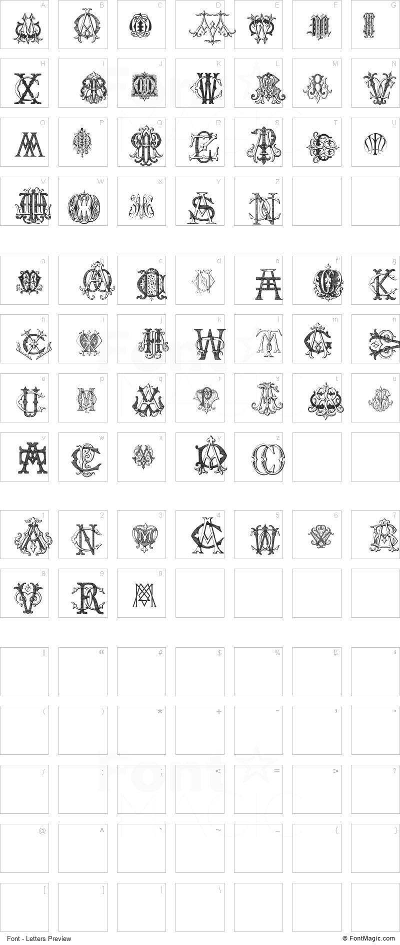 Intellecta Monograms Random Samples Five Font - All Latters Preview Chart