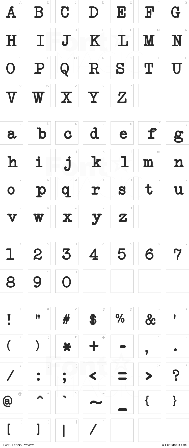 NeoBulletin Font - All Latters Preview Chart