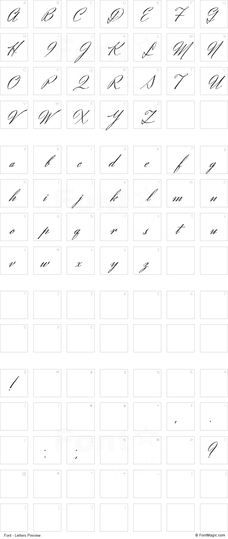 Eliensee Font - All Latters Preview Chart